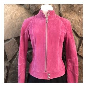 Vintage Suede Moto Style Leather Jacket!! Pink, Sm